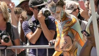 NYC Body Painting Day 2018: Peachy Peach Cam