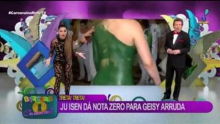 Body painted woman shows butthole in Brazilian TV