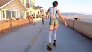 ROLLER GIRL at the Beach Wearing Only BODY PAINT