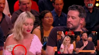 Nip slip due to wardrobe malfunction on a talk show (barely 5 seconds in…)