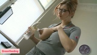 Milf with huge boobs playing with tits milk on office desk from 3:00