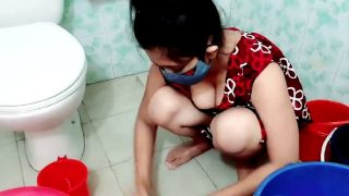 Beautiful Traditional Lady With Nice Cleavage and Legs Washing Clothes